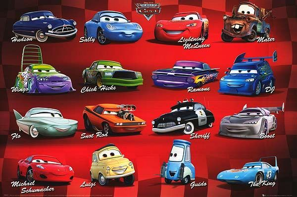 Download Poster with Disney characters Doc Hudson, Sally Carrera, Lightning McQueen, Mater, Wingo, Chick Hicks, Ramone, DJ, Flo, Snot Rod, Sheriff, Boost, Michael Schumacher, Luigi, Guido, The King