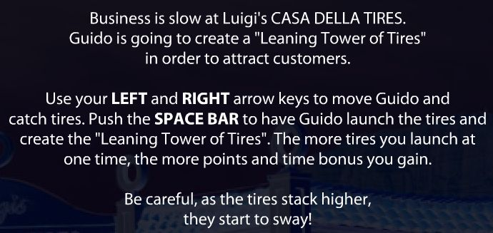 Use LEFT and RIGHT arrow keys to move Guido and catch tires