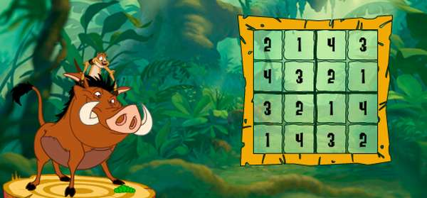 Picture from Timon and Pumbaa's Sudoku 4 x 4 grid logic puzzle game