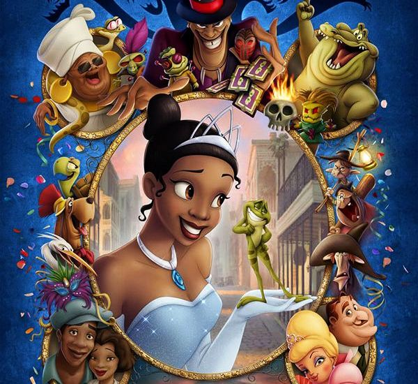Download Poster with Disney characters Mama Odie, Facilier, Louis, Tiana, Prince Naveen, Ray, Eudora, James, Charlotte, La Bouff