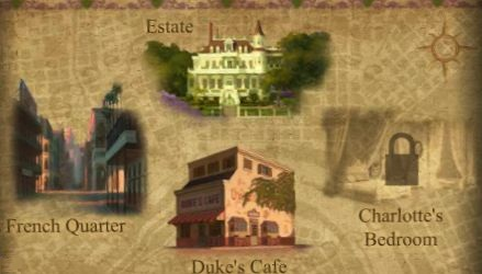 The map with Estate, French Quarter, Duke's Cafe and Charlotte's Bedroom