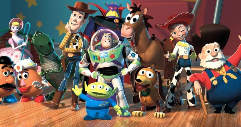 Download original new poster with Disney characters from Toy Story, Woody, Buzz Lightyear, Mr. Potato Head, Slinky Dog, Rex, Hamm, Bo Peep