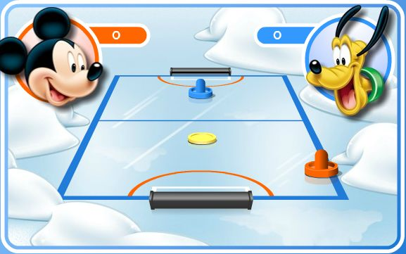 Picture from Air Hockey game with Mickey and Pluto as opponents